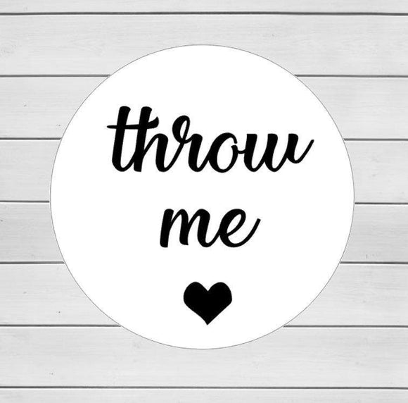 25 Throw Me Wedding Stickers Black Heart Script Throw me Stickers Confetti Stickers Rice Wedding Stickers