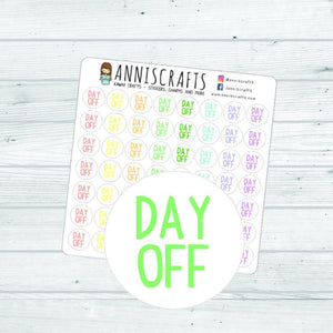 56 Day Off Stickers Planner Stickers Small Work Rainbow Cute Kawaii Handmade Erin Condren Kikki K Filofax Functional Planner Stickers AC40