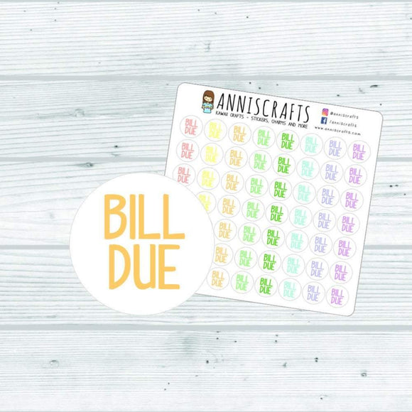 56 Rainbow Bill Due Planner Stickers Happy Planner Functional Stickers Pay Bills Planner Stickers Bill Reminder Stickers