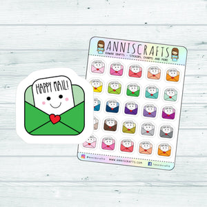 Happy Mail Planner Stickers Envelope Happy Planner Stickers Kawaii Planner Stickers Rainbow Colorful Envelope Mail Stickers UK Seller