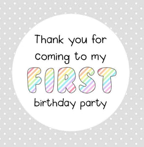 First Birthday Party Stickers Rainbow Baby Thank You For Coming To My First Birthday Party Stickers Goodie Bag Party Bag Stickers