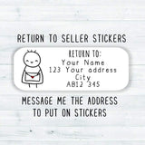 35x Return To Sender Seller Stickers Personalised Custom Rectangle Stickman Stickers Kawaii Cute Return To Stickers Order Packaging Stickers