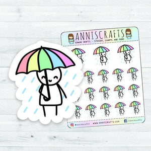 Rainy Day Umbrella Stickman Chibi Planner Stickers, Raining Stickers, Umbrella Stickers, Stickman Stickers, Kawaii Stickers, Happy Planner