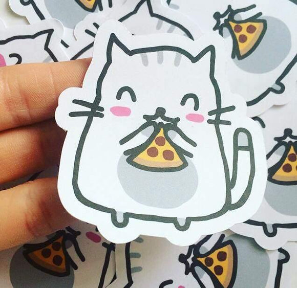 1pc Moochie The Cat Pizza Die Cut Sticker Kawaii Cat Food Die Cut Stickers Cute Planner Goodie Bag Stickers