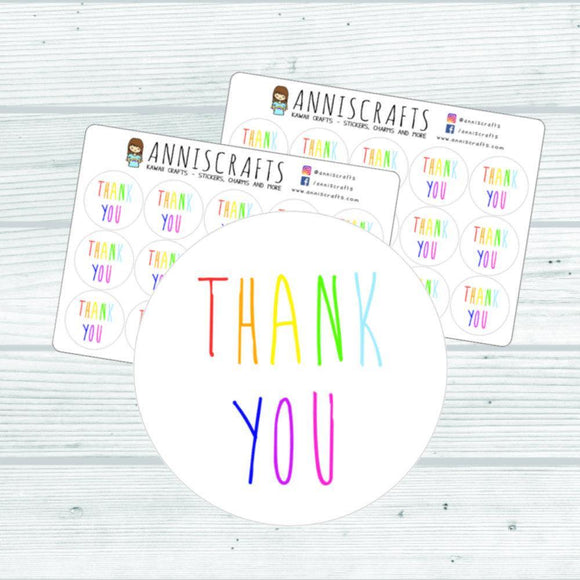 30 Rainbow Thank You Stickers Business Packaging Mailing Order Wedding Party Parcel Envelope Seals Stickers UK Seller