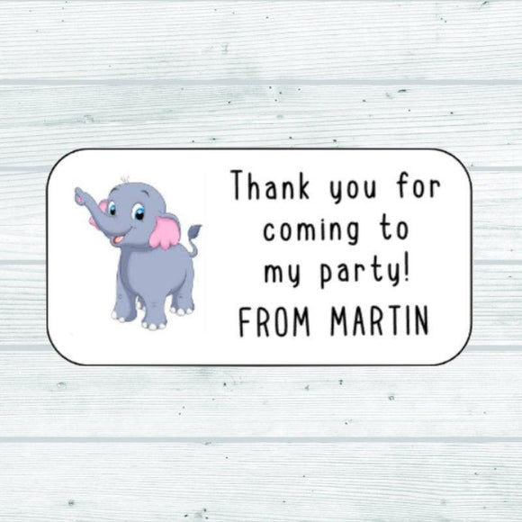 Custom Elephant Birthday Party Stickers Animal Thank You For Coming To My Birthday Party Stickers Elephant Stickers Goodie Bag Stickers
