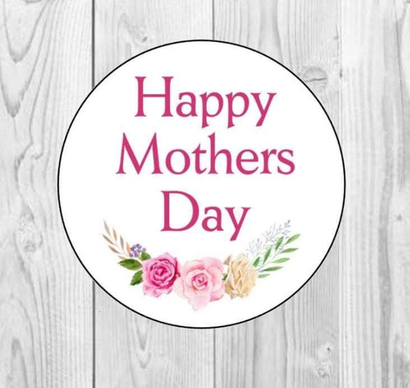 Happy Mothers Day Stickers Gift Present Mothers Day Mum Stickers Party Envelope Gift Floral Stickers Roses Laurel Mothers Day Stickers