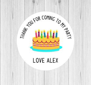 Birthday Cake Thank You For Coming To My Party Stickers Birthday Cake Party Gift Goodie Bag Stickers