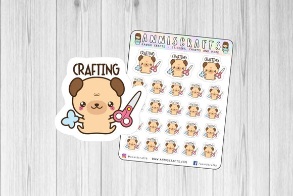 Pug Crafting Scrapbooking Planner Stickers Kawaii Animal Dog Stickers Crafts Paper Crafts Scissors Planner Stickers Erin Condren Stickers