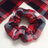 Plaid Red White Tartan Hair Scrunchie Hair Tie Stretchy Hair Scrunchie Soft Hair Accessory Hair Elastic Hipster Hair Scrunchie
