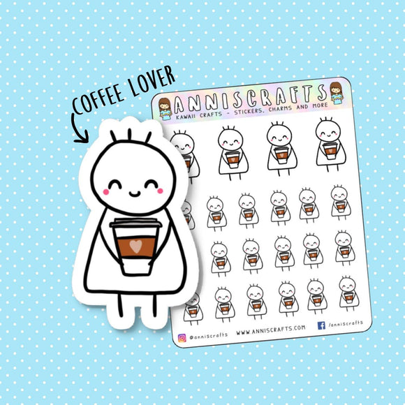 Stickman Chibi Coffee Lover Planner Stickers Coffee Cup Stickers Coffee Mocha Cappuccino Erin Condren Happy Cute Kawaii Planner Stickers