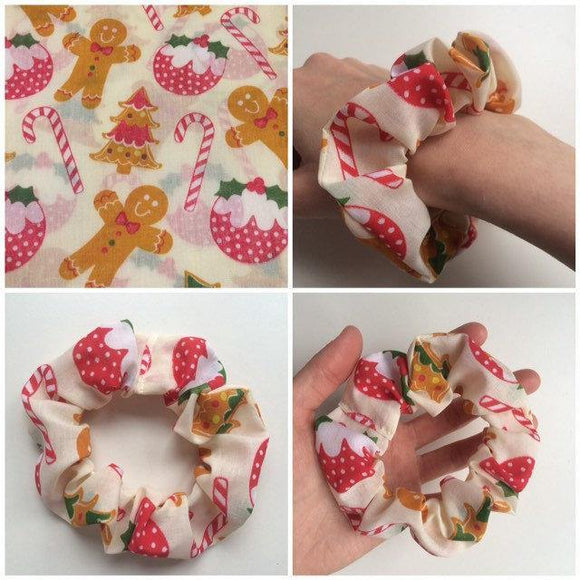 Christmas Scrunchie Hair Tie Hair Accessories Fashion Gingerbread Hair Tie Kids Adults Xmas Gift Stretchy Christmas Gift Hair Scrunchie