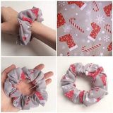 Christmas Scrunchie Hair Tie Hair Accessories Fashion Grey Hair Tie Kids Adults Xmas Gift Stretchy Fabric Christmas Gift Hair Scrunchie