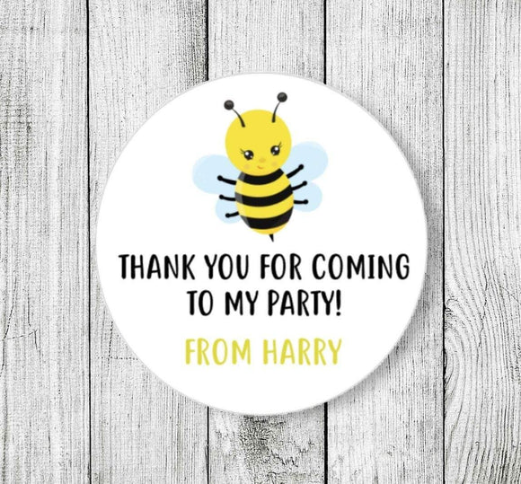 Bee Birthday Stickers Thank You For Coming To My Party Stickers Custom Name  Personalised Birthday Stickers Goodie Bag Party Stickers