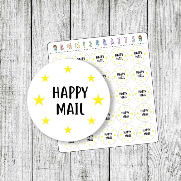 Happy Mail Stickers Post Mailing Stickers Envelope Seals Happy Post Stickers Stationery Kawaii Stars Stickers - 23mm