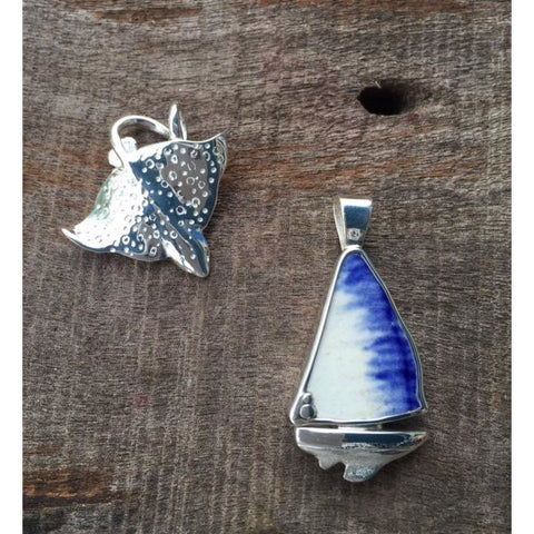 Silver Sailboat with Blue Porcelain