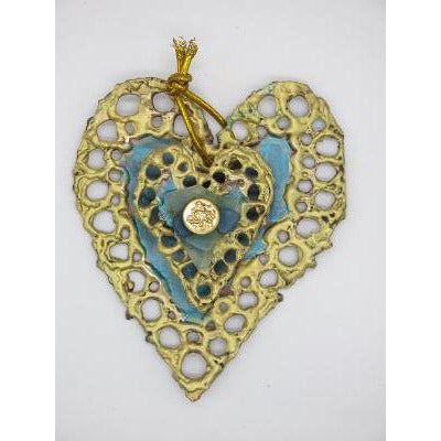 Turquoise Sea Heart Ornament