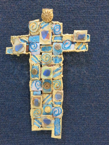 Caribbean Blue Seaglass Cross