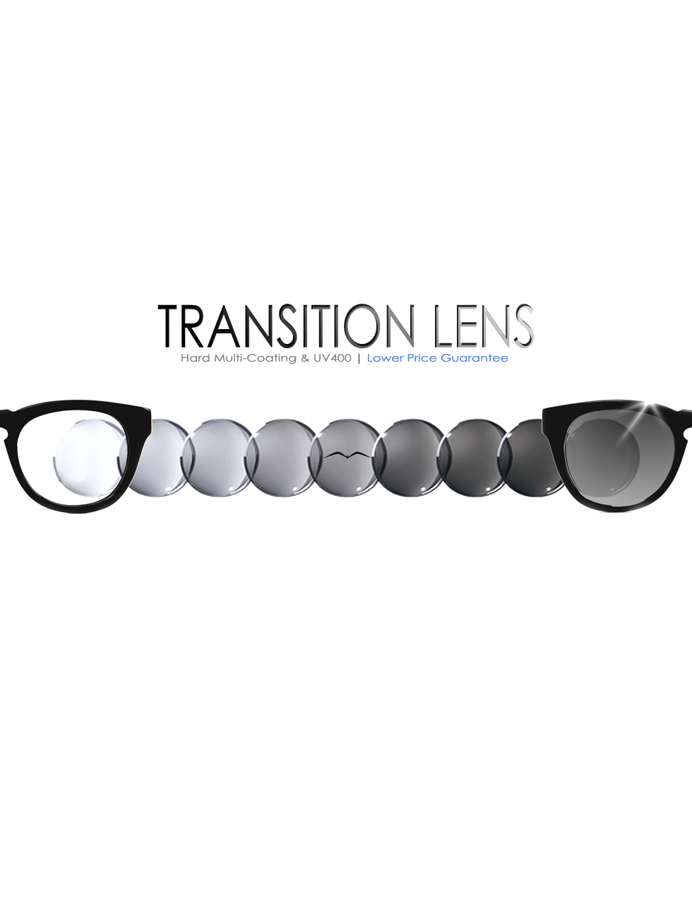 Black optical prescription eyeglasses Transition Lenses promotion discount mobile