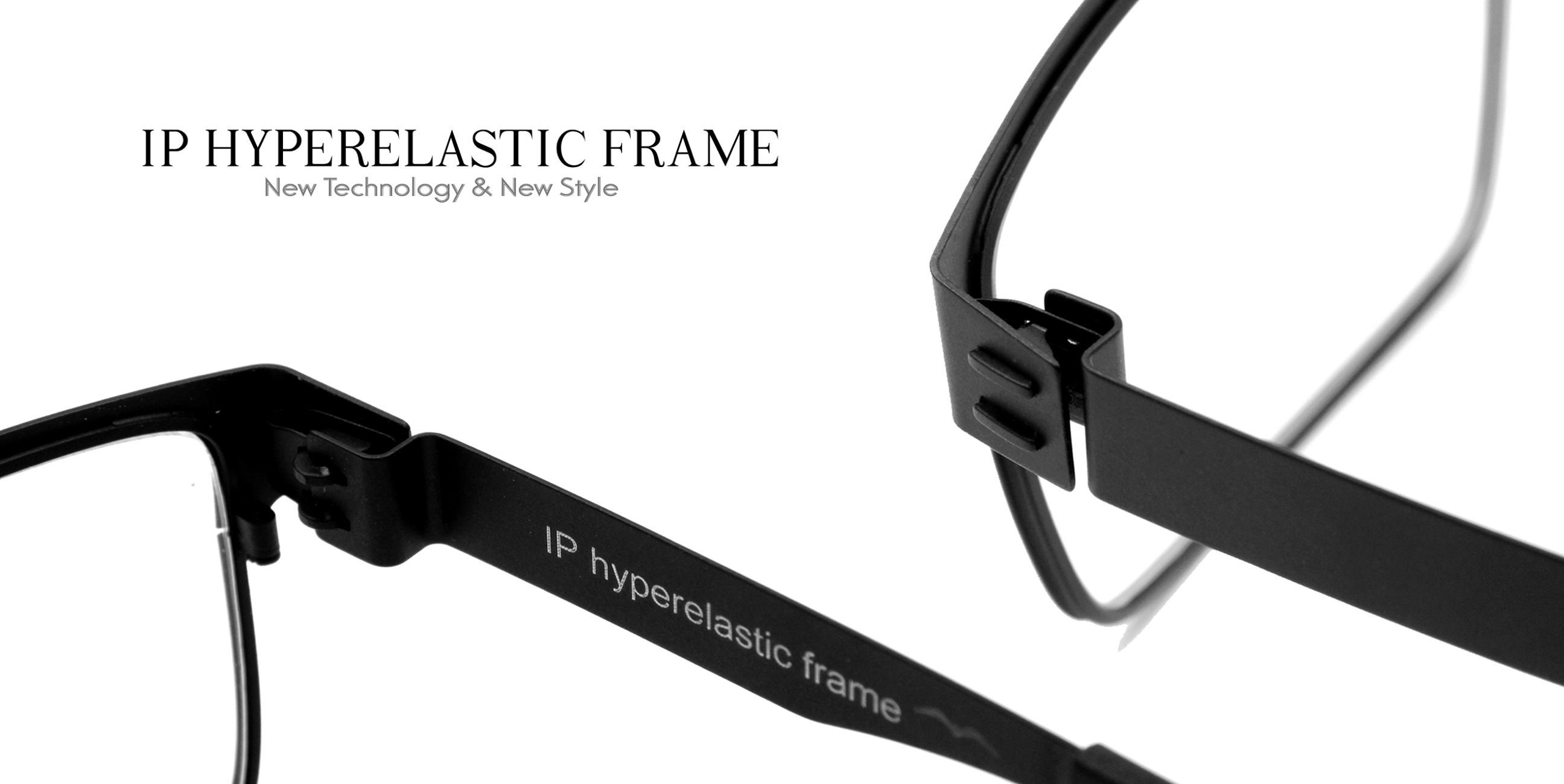 Black optical prescription eyeglasses IP Hyperelastic new technology style