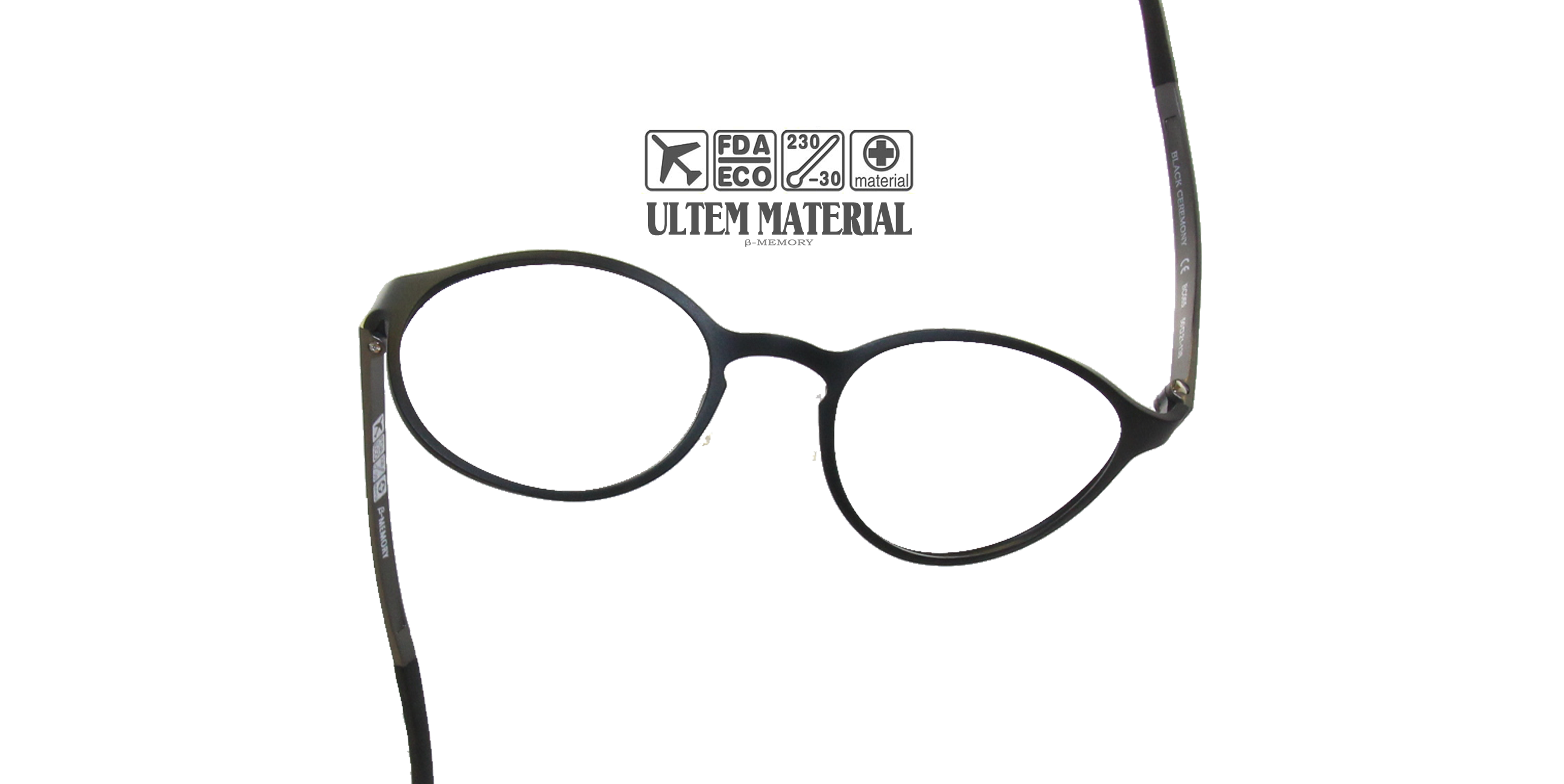 Black optical prescription eyeglasses ULTEM Unbreakable Material