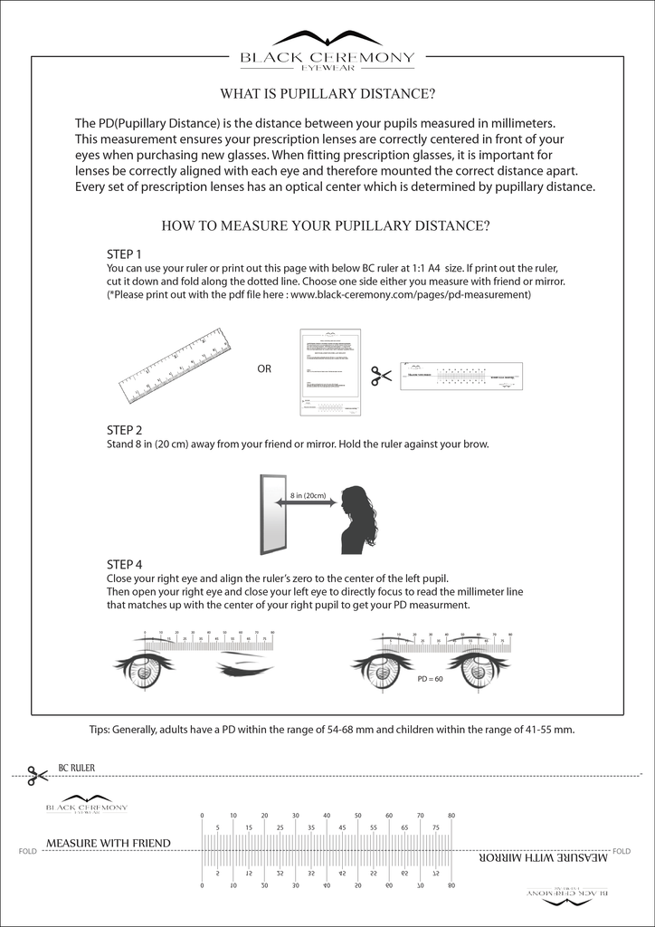 Pupillary distance measurement at Black Ceremony Eyewear