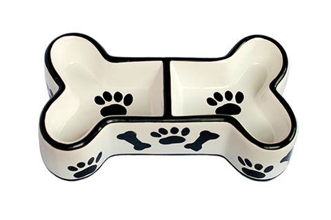 Creature Comforts Bone Shaped Ceramic Dog Bowl