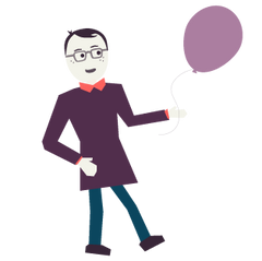 An illustration of Jedd holding a balloon