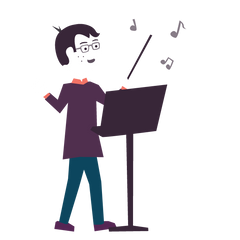 An illustration of Jedd pretending to be an orchestra conductor