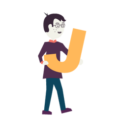 An illustration of Jedd holding a letter J