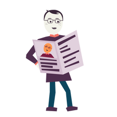 An illustration of Jedd holding a newspaper