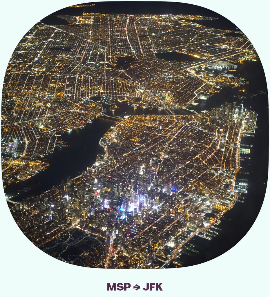 Lower Manhattan, lit up at night, from above