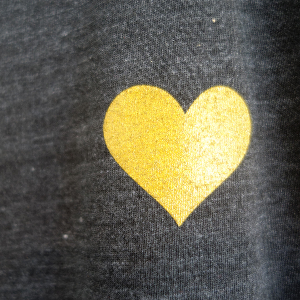 Detailed photo of the printed gold heart.