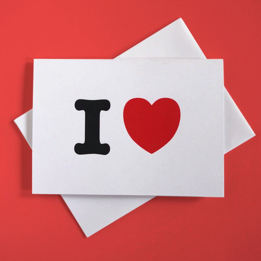 "Greeting card with playful typography that says ""I Heart"""