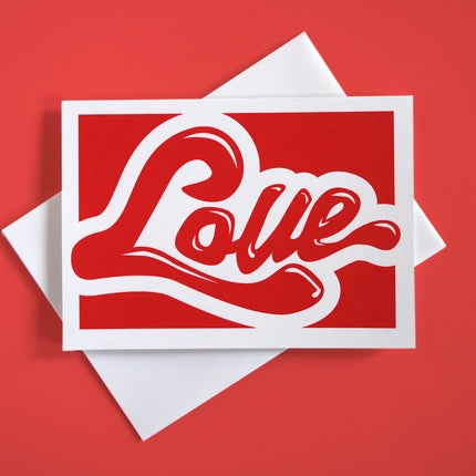 "Greeting card with playful typography that says ""Love"""