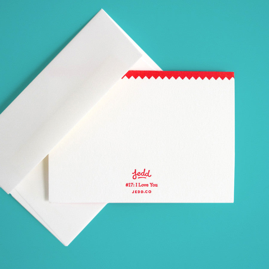 Detail image of the greeting card with Jedd branding