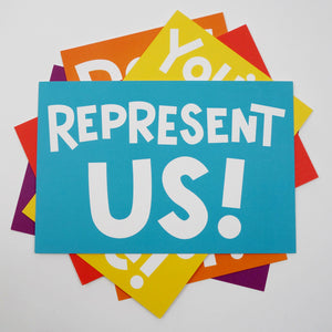 "A postcard reading ""Represent us!"""