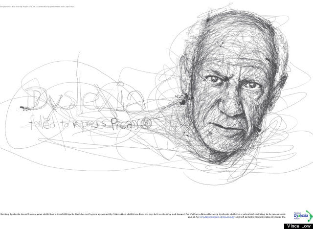 Vince Low Pays Homage To Famous Dyslexics With Realistic Scribble Sketches