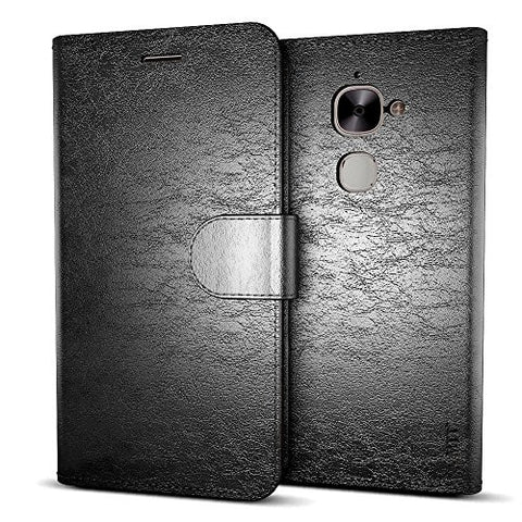 MTT® Premium Leather Flip Wallet Case with Card Slot for LeEco Le 2 (Black)