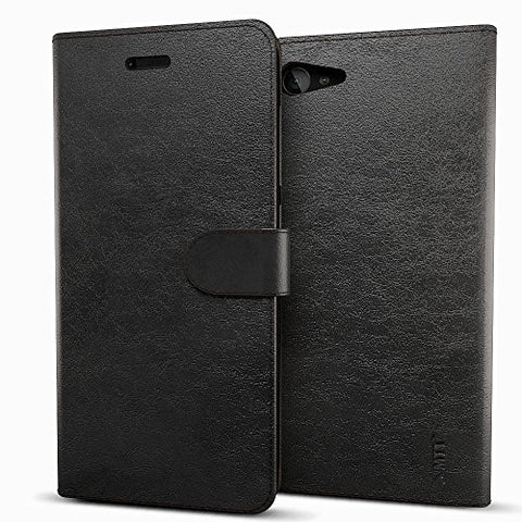 MTT Premium Leather Flip Wallet Case Cover with Card Slot for Lenovo Z2 Plus (Black)