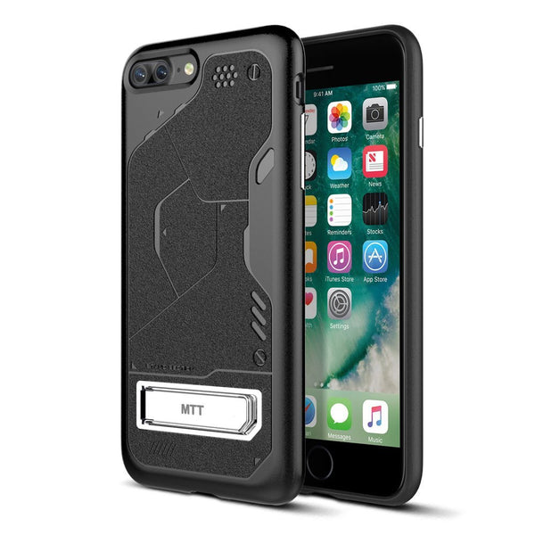 MTT Apple iPhone 7 Plus Shock Proof Rugged Armor Case (BLACK with STAND)