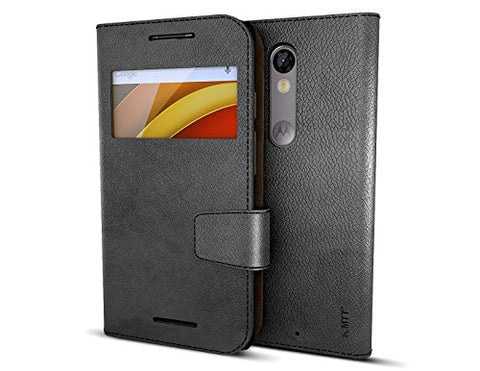 MTT Premium PU Leather Wallet Case for Moto X Force (Black) [ Not Compatible with MOTO G4 PLUS ]