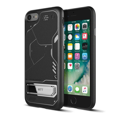 MTT Apple iPhone 7 Shock Proof Rugged Armor Case (BLACK with STAND)