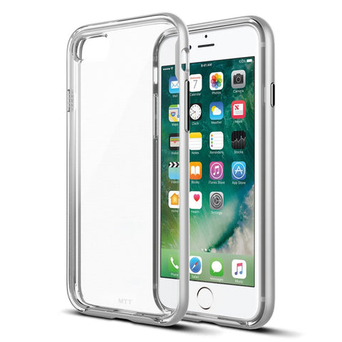 MTT Apple iPhone 7 Case - Dual Layer Shock Absorption Hybrid TPU Shell with PC Frame (Silver)