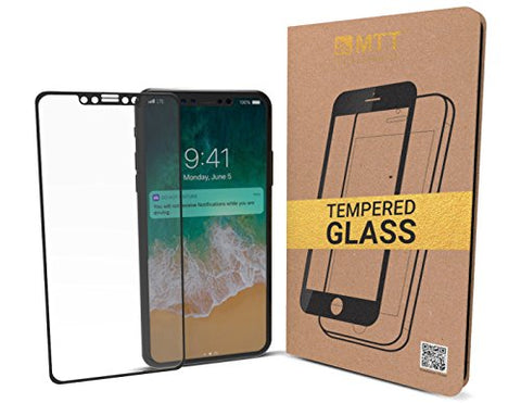 MTT 3D Full Body Premium Quality Tempered Glass Screen Protector Guard For Apple iPhone X (Black)