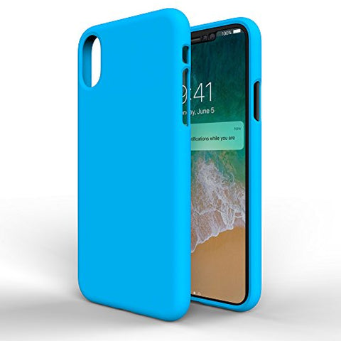 MTT Silicon Rubber Texture Thin Fit Protective Case Cover for Apple iPhone X (Blue)