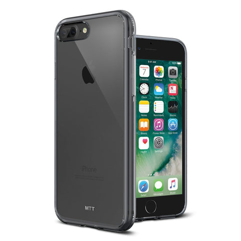 MTT Apple iPhone 7 Plus Case - Shock Absorption Crystal Clear Back with TPU Bumper for Corner Drop Protection (Smoke Black)