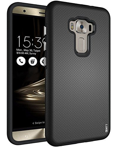 MTT Shock Absorption Dual Layer Rugged Armor Back Case Cover for Asus Zenfone 3 ZE552KL (BLACK)