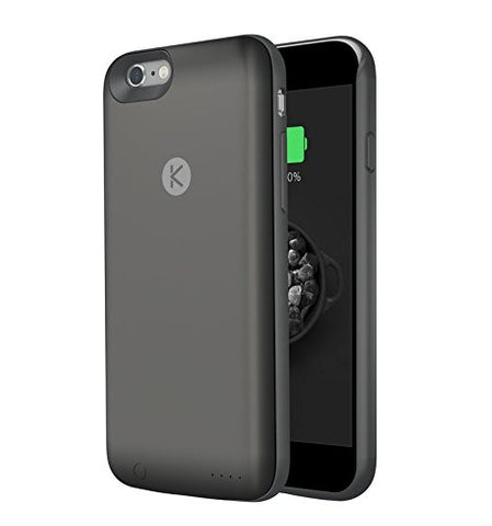 MTT® KUKE Ultra Slim Battery Case with 16GB Built-In Memory for Apple iPhone 6S / 6 - World First Unique Smart Case with Built-in 16GB Memory and Expandable 2400 mAh Battery (16GB, BLACK)