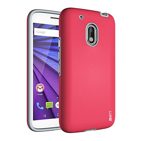 MTT® Shock Absorption Dual Layer PC + TPU Case Cover for Moto G4 Play (Red)